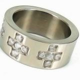 8mm Stainless Steel Diamond Ring / White Crystal Wedding Band Ring