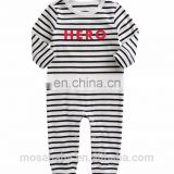"Ins Hot Sale Baby Stripes ""Hero"" Boys Rompers Long Sleeves suit for 0-24 Months"