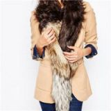 Women New Patchwork Design Faux Fur Slot Through Scarf Fluffy Women Stole