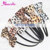 Lepoard Printed Fabric Bow Ladies Handmade Hairbands Headband