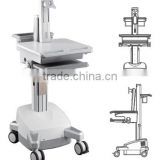 Powered Mobile Cart Medical Trolley workstation with monitor mount