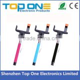Promotional 2015 wholesale video camera extendable handheld wired monopod selfie stick with cable