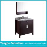 Tonghe Collection Brown Bath Vanity Set Granite Countertop Mirror Cabinet