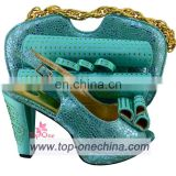 Water green clothes shoes and bags/price tags for shoes and bags/ shoes and bags to match