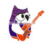 Owl Playiing The Guitar Hotfix Fabric Transfer Design for T-shirt or Bag