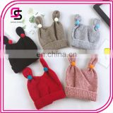 Children knitted hat, rabbit ear with small ball knitted cap cute fashion baby hats
