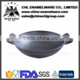 Smokeless cast iron enamel coating wok for cooking