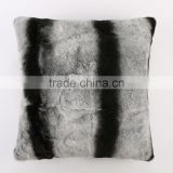 Wholesale Retail YR063 Chinchilla Dyed Rex Rabbit Fur Pillows Customized Sizes Top Quality Furs Cushion Cover