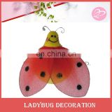 Red artificial Ladybug draw smile face garden ornament