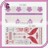 Spring design fancy tattoo sticker, metallic temporary tattoo
