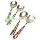 Salad Servers, Stainless Steel Decorated, Polished and enameled Salad Servers