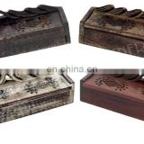 CARVED WOOD COFFIN INCENSE BURNER