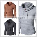 Hot Selling T-Shirt Men Button Front Long Sleeve Round-neck Solid Casual Slim Tops