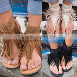 B22425A Europea women stylish tassels flip flops flat sandals