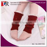 2015 fashion stock girls acrylic boot cuffs ruffled lace leg warmers