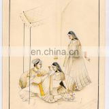 Mughal Miniature Watercolor Original Art Mugal Harem Scene Erotic Painting Hand Painted