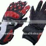 Leather Motorbike Gloves , Motorcycle Racer Gloves , Garments