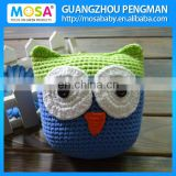 Toddler Children Gift Toy Crochet Stuffed Owl Doll Green Blue With White Large Eyes
