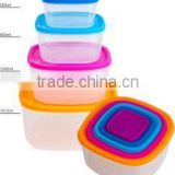 Rainbow Food Storage Set, 5pcs plastic food container,square storage box.