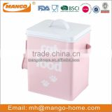 Pinky Powder Coating Steel Cat Food Container