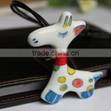 Ceramic Pendant Vintage Necklace Yiwu Sweater Pendants,Porcelain Giraffe Gift Hang Decoration Accessory
