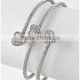 Hot sales of fashional clear rhinestone heart charm bracelet/Three rows metal opened cuff bangle silvr plated