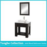 Espresso Hotel Bathroom Vanity With White Stone Countertop Ceramic Vessel Sink