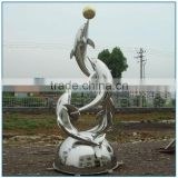 High Polished Mirror Look Playing Ball Stainless Steel Dolphin Sculpture