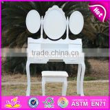 2017 New design youth white folding wooden dressing table W08H076