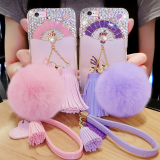 Soft tpu Diamond Cell Phone Cover Case Silicone mobile Phone Cases for iPhone7/7Plus/6/6s/6plus/6splus Fluffy ball shell