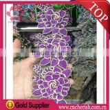 Fashion charming purple lace for <b>wedding</b> dress,iron-on crystal rhinestone lace trimming,<b>ladies</b> <b>suits</b> lace design                                                                         Quality Choice