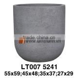 Vietnam Grey Fiber Lite Stone Decorative Round Plant Pot