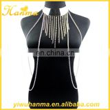 Fashionable women slave body chain choker necklace tassel jewelry