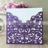 beautiful dark purple wedding cards laser cutting christmas party supplies flower theme with blank or printing inside&envelope