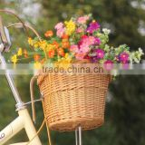 Hot sell removable cheap wicker bicycle rattan basket