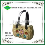 Wholesale corn husk weave bag with leather handle