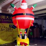 3m Height Hanging Christmas Inflatable Santa with Penguins for Ceiling Decoration