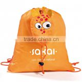 small fashionable orange polyester bag with logo customized