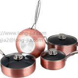 7pcs aluminium press cookware set include fry pan,sauce pan,casserole,wok