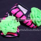 Hot Pink Zebra Print Shoes with Lime Green Rosettes Pettishoes Crib Shoes MAS31