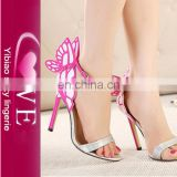Latest Fashinoable Pink Butterfly Wings Heel High Shoes