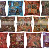 Indian Hand Embroidered Ethnic Pillow Cushion Cover Beads Zari Work Room Cushions Cover decorative art