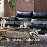 royal golden stainless steel coffee center table set with marble top
