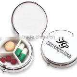 Three-Compartment Metal Pill Case - has a bright, polished, chrome finish and comes with your logo