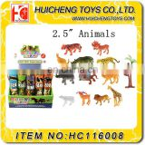 Eco-friendly different kinds f 2.5 inch pvc mini zoo animal toy for kids