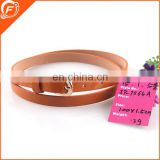 fashion PU leather orange lady belt 100cm long 1.5cm wide