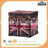Europe handmade antique UK flag fabric and leather Decorative Storage Trunk
