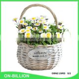 Grey color natural wicker material flower girl basket with plastic liner