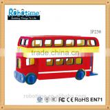 Assembled IQ wooden kids puzzle jigsaw toy London bus 3D model educational toy made in China