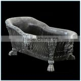 Home Used Gothic Black Stone Marble Bathtub with Lion Heads